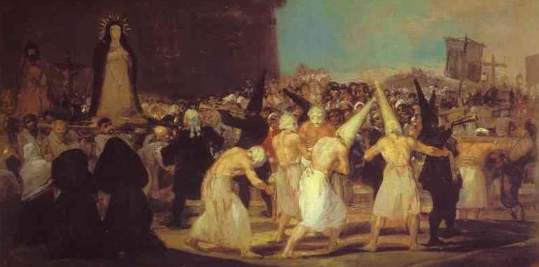 Une procession de flagellants, (Francisco de Goya, vers 1812; Académie Royale San Fernando, Madrid)