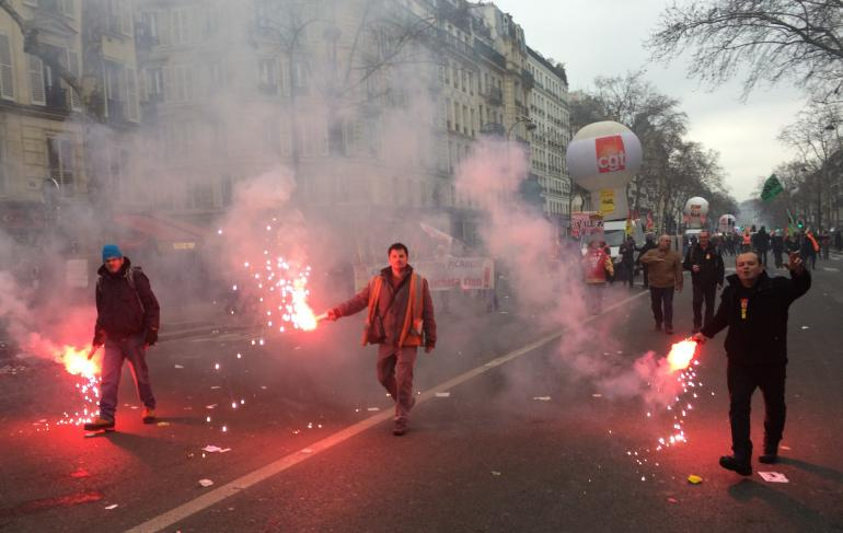 Cheminots à la manifestation de Paris du 22 mars 2018<br />