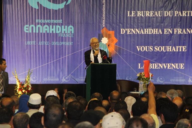 Rached Ghannouchi en meeting près de Paris (photo : P. Desorgues)<br/>