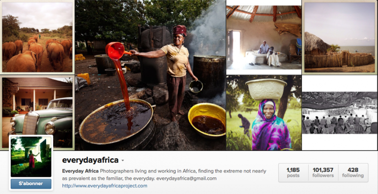 "Capture d'écran du compte Instagram de ""Everyday Africa"""
