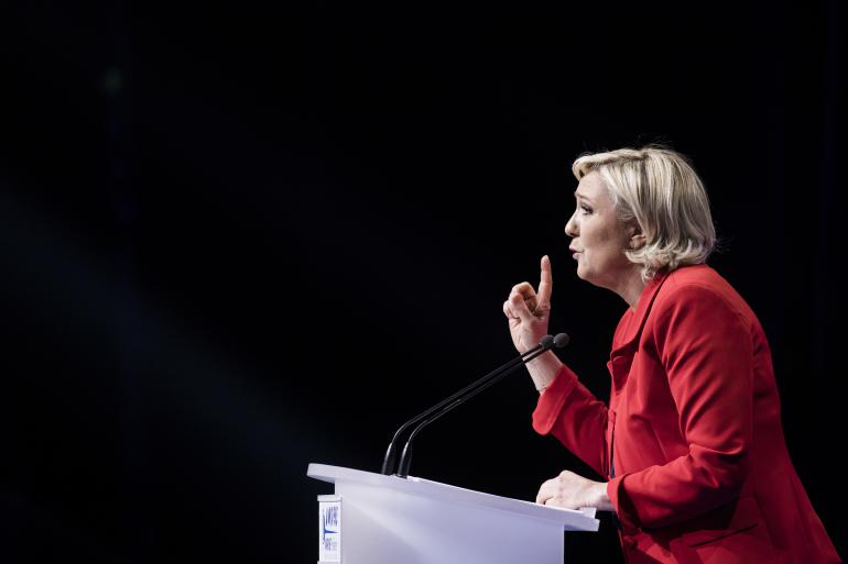 Meeting de la candidate du Front national, Paris, le 17 avril 2017.<br />