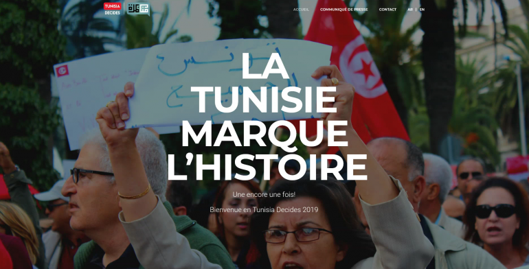 Capture d'écran du site internet Tunisia Decides 2019