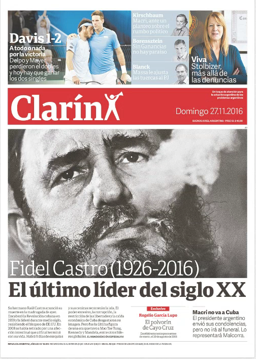 Une du journal argentin progressiste, Clarín, le 27/11/2016.