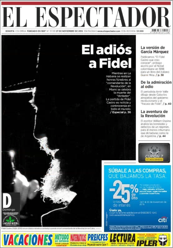 Une du journal progressiste colombie, El Espectador, le 27/11/2016.