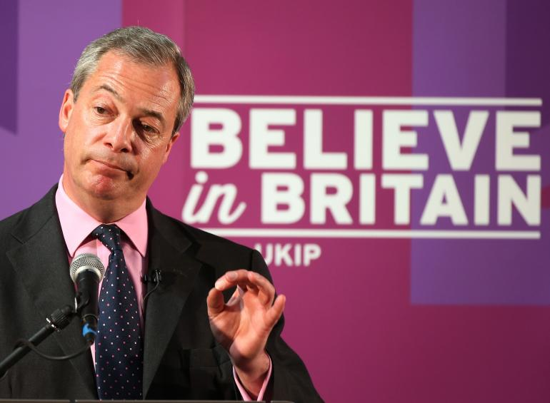 Nigel Farage, dirigeant du parti UKIP,  le 28 avril 2015.