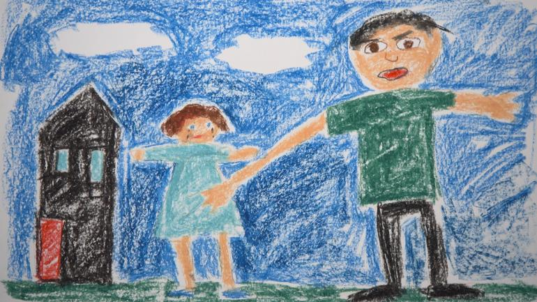 Illustration s'inspirant de dessins d'enfants victimes d'agressions sexuelles