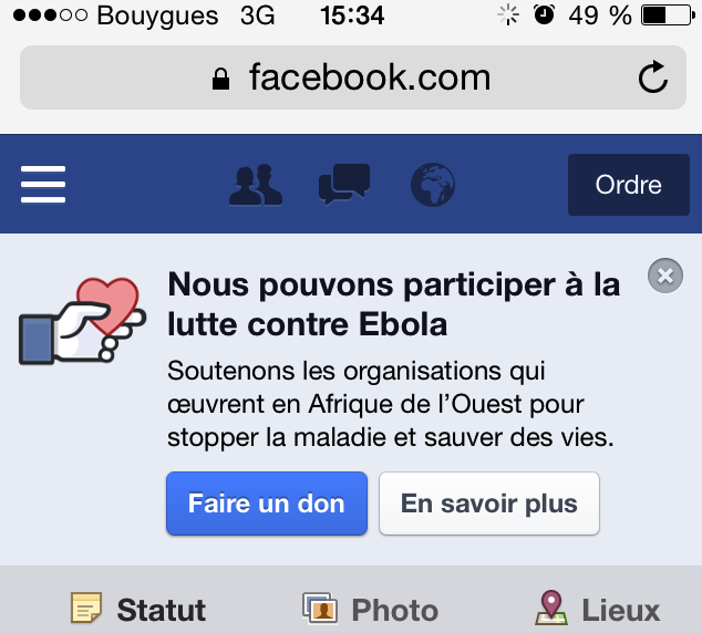 Capture d'écran du dispositif mis en place sur Facebook