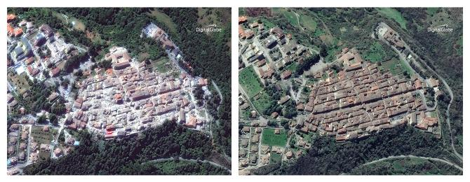 Des images de satellite de DigitalGlobe montrent l'ampleur de la destruction à Amatrice.