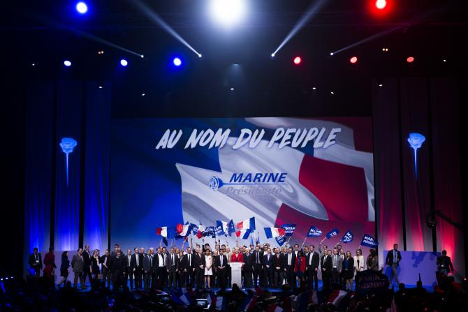 Meeting de Marine Le Pen, Paris, le 17 avril 2017.<br />