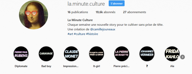 Capture d'écran du compte Instagram La Minute Culture