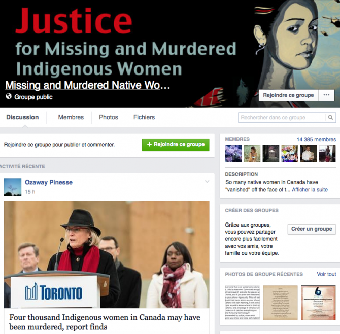 "Page Facebook du groupe ""Justice for Missing and Murdered Indigenous Women"""