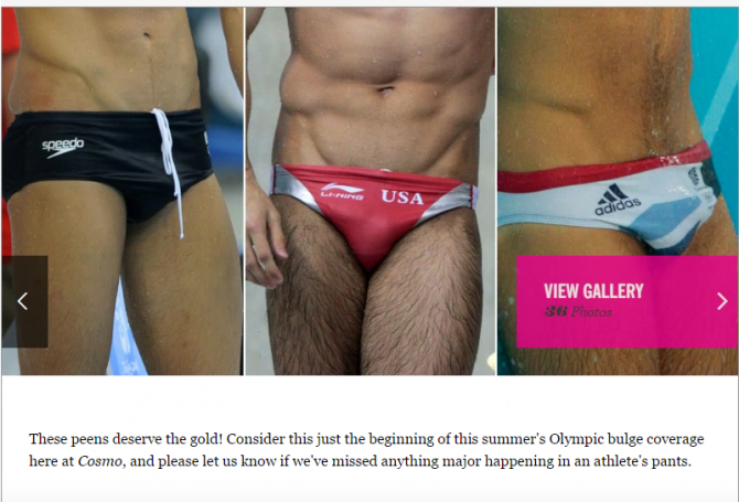 "Capture d'écran de l'article de Cosmopolitan: ""36 of the Greatest Summer Olympic Bulges"""