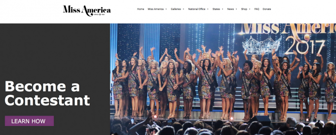 "Capture d'écran du site internet de <a href=""http://missamerica.org/"" target=""_blank"">Miss America organization</a>."