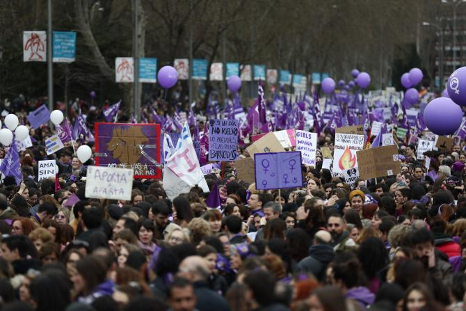 People, mostly women, gather during a rallyto mark the International Women's Day in Madrid, Spain, Sunday, March 8, 2020. Thousands of women are marching in Madrid and other Spanish cities as part of International Women's Day despite fears of the spread of the coronavirus.