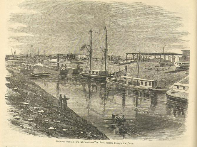 En 1869, le Appleton's Journal of Popular Literature, Science, and Art rend compte de l'inauguration du canal : déjà les premiers embouteillages....