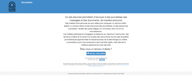 Capture d'écran du site internet Sourcesure.eu