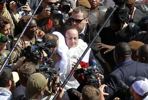 François Hollande à Tombouctou, février 2013.<br />