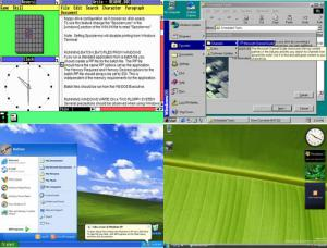 Captures d'écran : Windows 1.0 en 1985, Windows 98 en 1998, Windows XP en 2001 en et Windows 7 en 2009 (cliquez pour agrandir l'image).