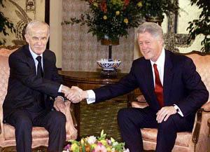 Hafez el-Assad et Bill Clinton en mars 2000