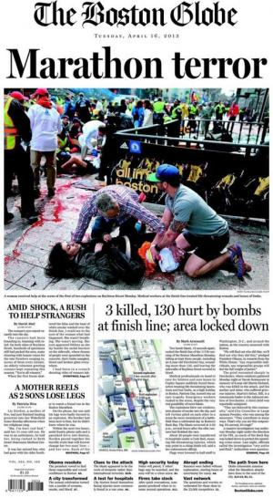 La Une du Boston Globe le mardi 16 avril 2013.