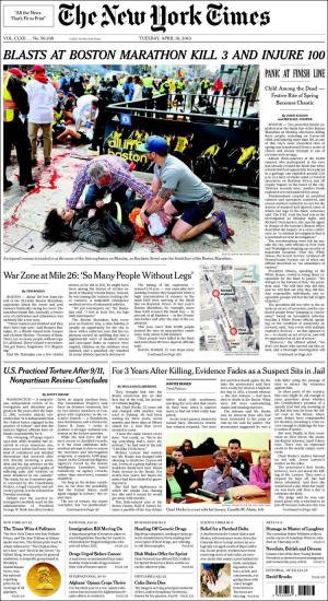 La Une du New York Times le mardi 16 avril 2013.