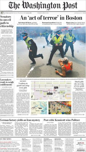 La Une du Washington Post le mardi 16 avril 2013.