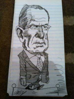 Caricature de Serguei¨ Lavrov re´alise´e par le journaliste de Fox News James Rosen / Photo AFP