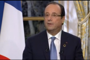 François Hollande lors de l'interview à TV5Monde, France 24 et RFI