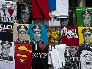 Des t-shirts à l'effigie d'Al-Sissi / photo AFP