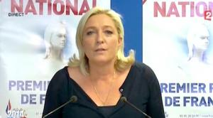 Déclaration de Marine Le Pen au journal de 20hde France 2, ce 25 mai à l'issue du scrutin accordant 25% de voix au Front National