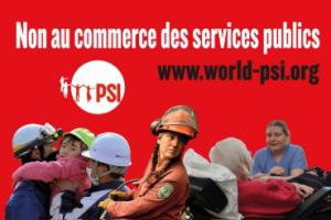 Affiche anti TiSA de l'organisation syndicale internationale PSI (Public Service International, Internationale des Services Publics)