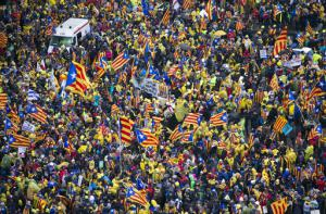 Manifestation indépendantiste catalane à Bruxelles le 7 décembre 2017.<br />