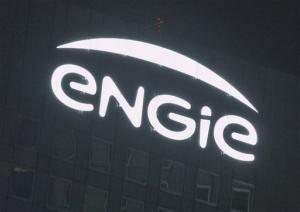 Le logo d'Engie sur son immeuble de la Défense<br />