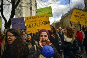 Manifestation contre les violences faites aux femmes à Pampelune le 25 novembre 2018.<br />