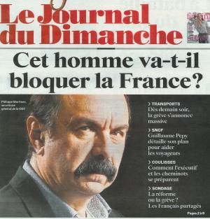 Une du principal journal dominical français le 1er avril 2018.