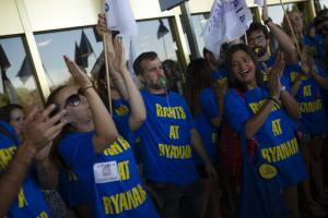 Personnel de Ryanair en grève à Madrid le 25 juillet 2018<br />