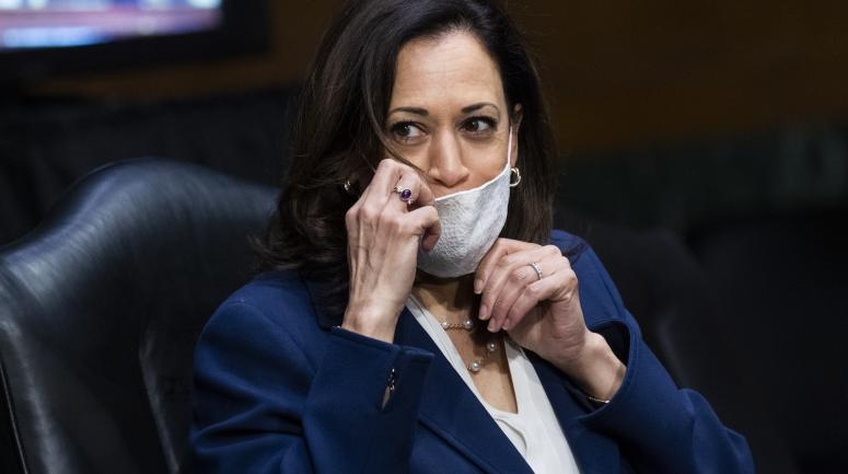 <p>Kamala Harris ajuste son masque lors d'une audition au Sénat, à Washington, le 2 juin 2020. </p>