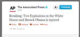 Capture d'écran du message pirate publié sur le compte Twitter de l'agence Associated Press, @AP.