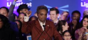 <p>Lori Lightfoot prend la parole le soir de son élection, le 2 avril 2019, à Chicago. </p>