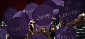 Rassemblement de<em> Podemos</em> au Pays Basque durant la campagne électorale.<br />