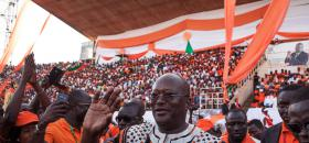 Roch Marc Christian Kabore lors d'un meeting à Ouagadougou le 27 septembre<br />