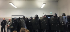 Les CRS à l'université de Nanterre le 9 avril.<br />