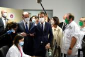 French Prime Minister Jean Castex (3rd-L) and French Health Minister Olivier Veran (2nd-R) visit the teleoperating room at the Mercy Hospital - Metz-Thionville Regional Hospital prior to new announcements to curb the spread of the novel coronavirus Covid-19 on January 14, 2021, in Ars-Laquenexy, eastern France.